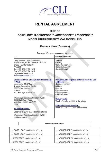 Standard rental agreement - Concrete Layer Innovations