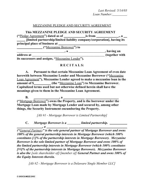MEZZANINE PLEDGE AND SECURITY AGREEMENT This - acrel