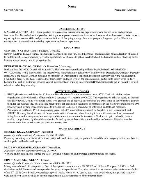 Sample Management Resume Mgmt Trainee - Eduers