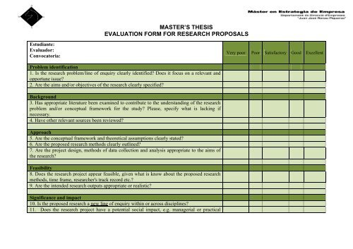 master\u0027s thesis evaluation form for research proposals