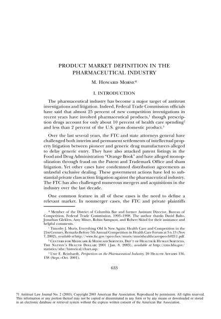 product market definition in the pharmaceutical industry
