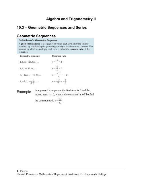 Algebra and Trigonometry II 103 â\u20ac\u201c Geometric Sequences and