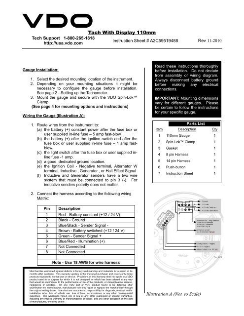 Vdo Tach Wiring Sheet Better Wiring Diagram Online