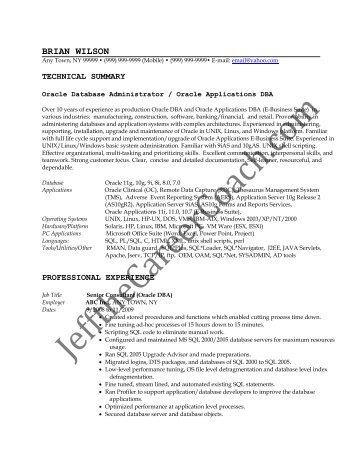 dba sample resume resume taglines oracle dba resume examples