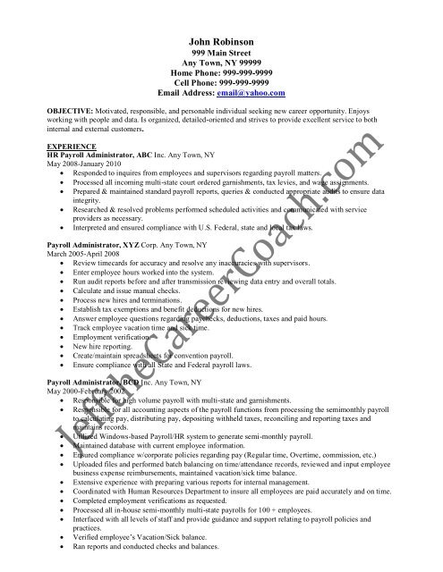 download the Payroll Administrator Resume Sample One in PDF