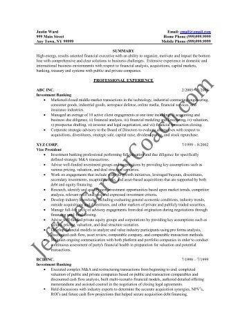 investment banking resume samples - Pinarkubkireklamowe