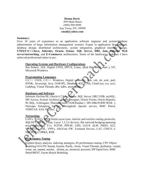 download the DBA Resume Sample One in PDF