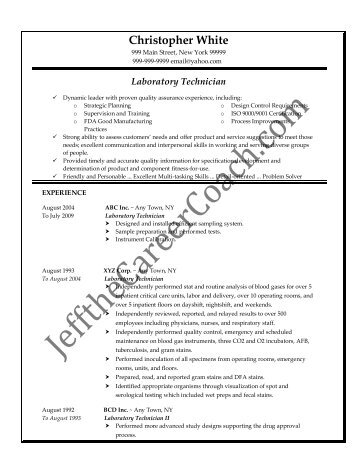 lab technician resumes