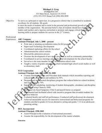 vice principal resume assistant school principal resume or cv