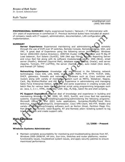 download the Windows System Administrator Resume Sample