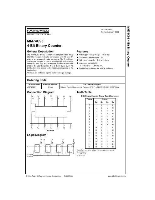 MM74C93 4-Bit Binary Counter - Datasheetz
