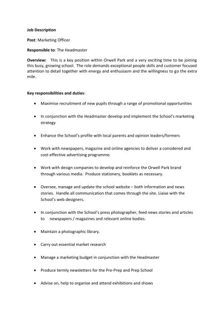 Job Description Post Marketing Officer Responsible to - Orwell Park