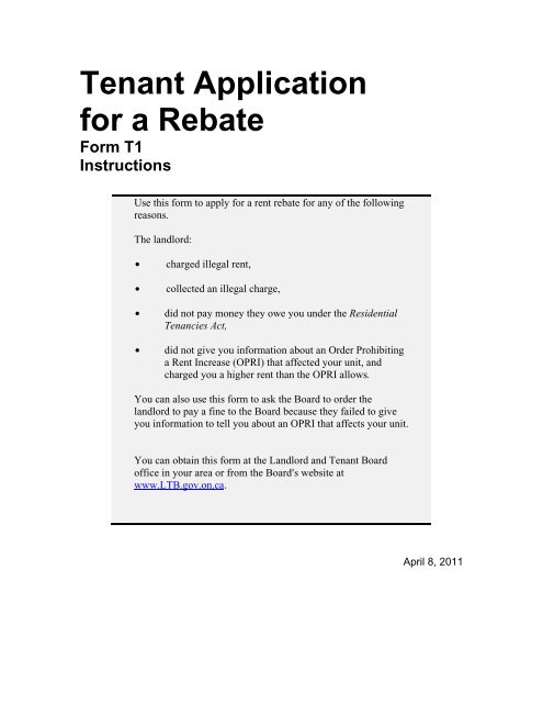Tenant Application for a Rebate Form T1 Instructions - Landlord
