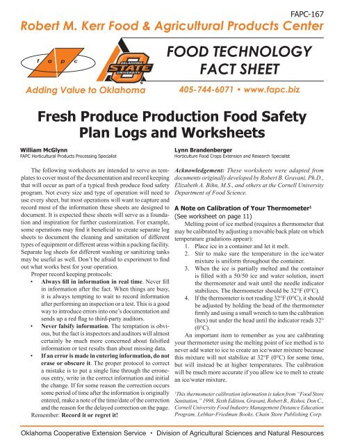 Fresh Produce Production Food Safety Plan Logs and Worksheets