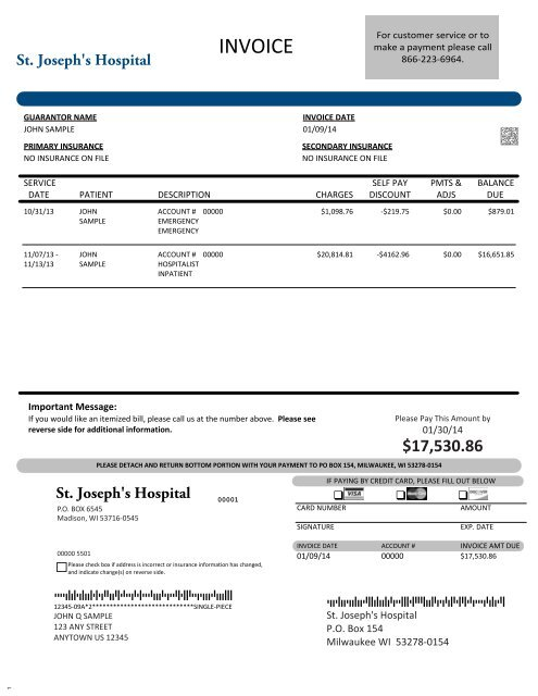 View an example of our patient invoice - Froedtert Health
