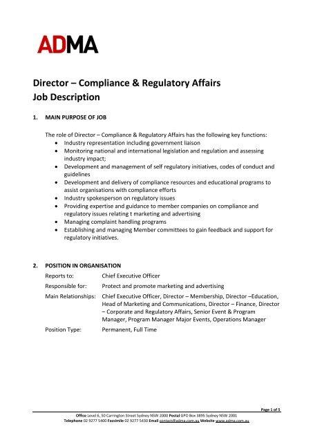 Job description - Director of Communications - ADMA