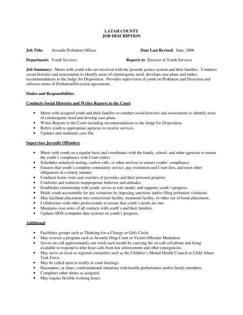 Juvenile Probation Officer Date Last Revised June - Latah County