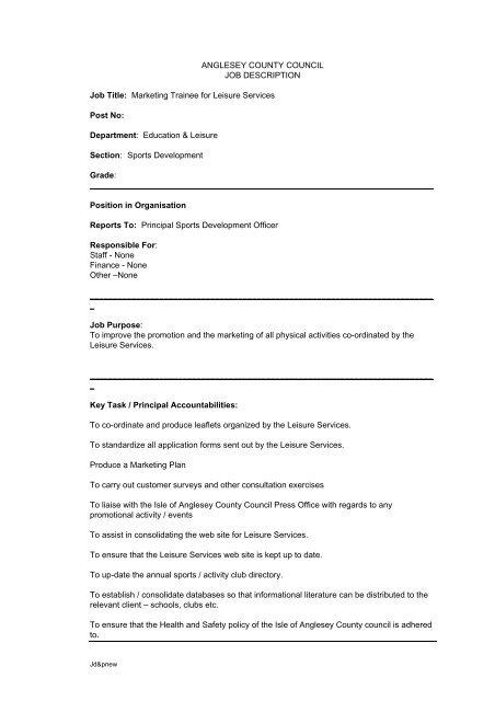 Job Description/Person Specification Trainee Marketing Officer