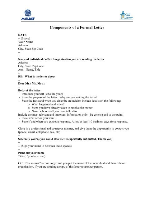Sample Letter - maldef