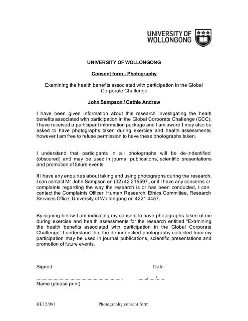 Consent form - Photography - Staff - University of Wollongong