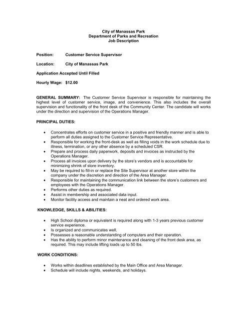 customer service supervisor job descriptionpdf - City of Manassas