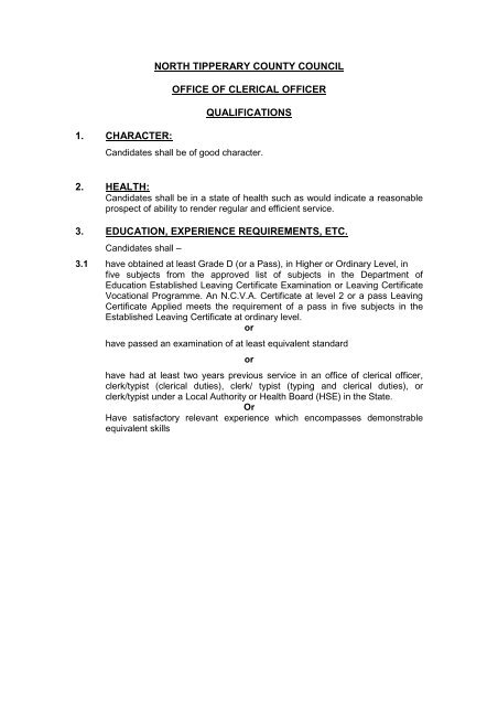Clerical Officer particulars - North Tipperary County Council