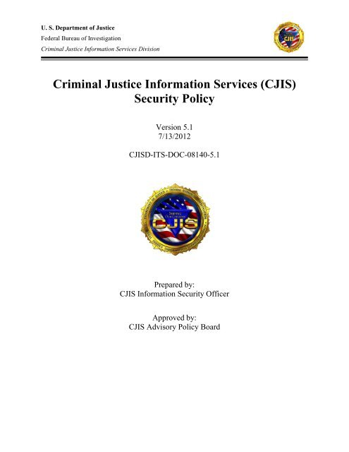 Criminal Justice Information Services (CJIS) Security Policy - FBI