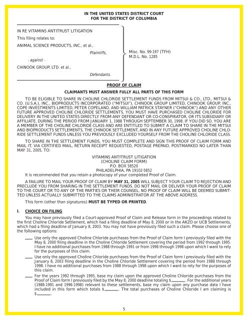 Proof of Claim Form - Heffler Claims Group
