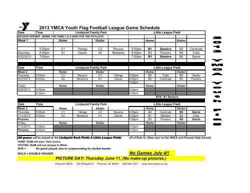 2013 YMCA Youth Flag Football League Game Schedule