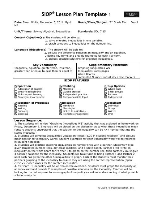 SIOP® Lesson Plan Template 1 - ACT-ESL