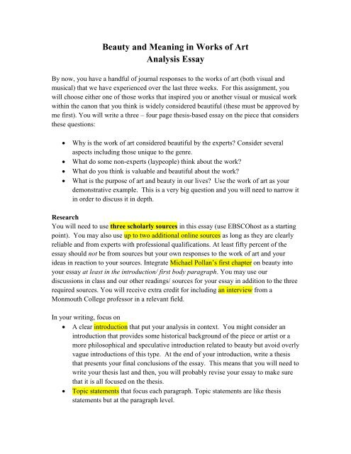Beauty and Meaning in Works of Art Analysis Essay - Monmouth