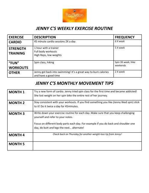 jenny c\u0027s weekly exercise routine jenny c\u0027s monthly - ABC