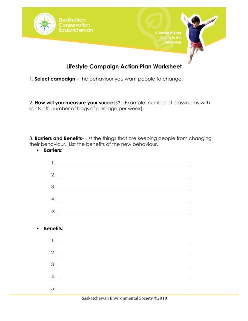 Lifestyle Campaign Action Plan Worksheet - Saskatchewan