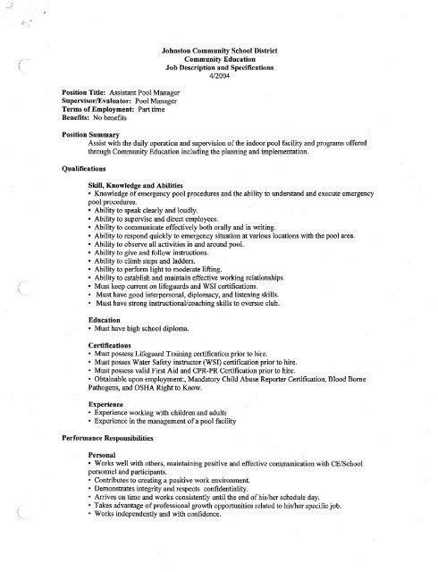 Assistant Pool Manager Job Description - Johnston Community