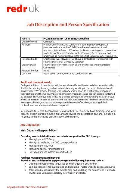 Job description - PA to CEO _Oct 09_ - CharityJOB