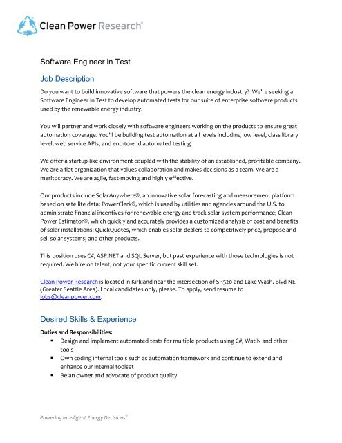 Software Engineer in Test Job Description Desired Skills  Experience