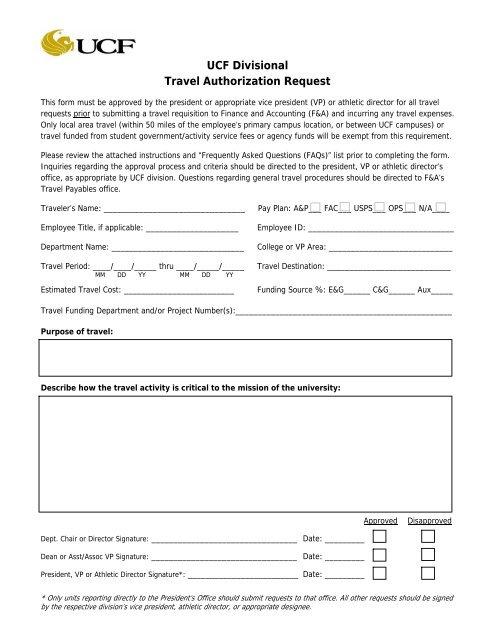 UCF Travel Authorization Request Form