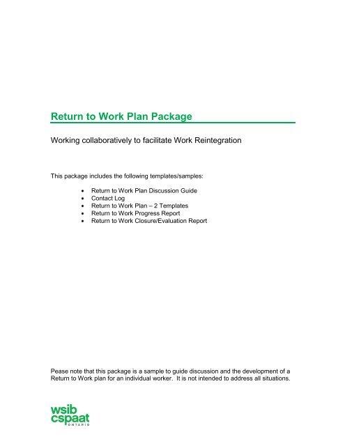 Sample Return to Work Plan package - wsib