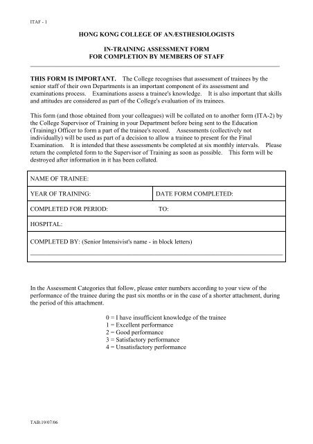 In-training Assessment Form for Completion by members of staff