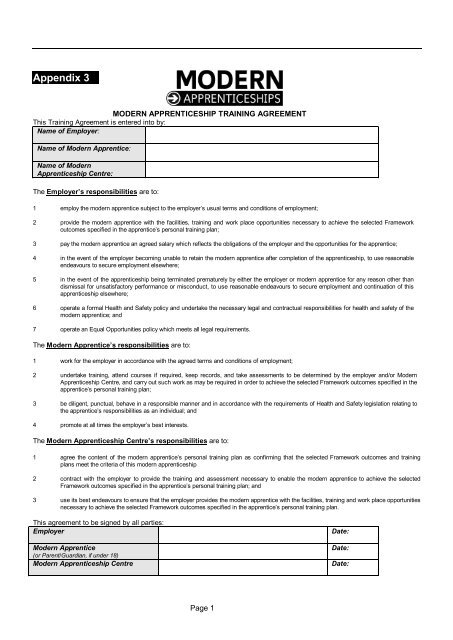 Modern Apprenticeship Training Agreement - Skills CFA