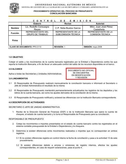 Procedimiento Operativo de Conciliación Bancaria - Dirección