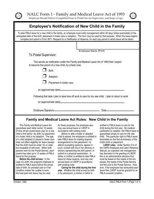 NALC FMLA Forms - branch 38