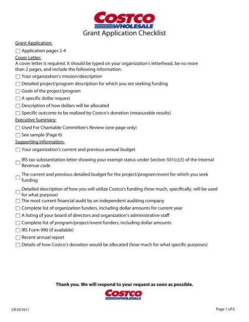 Grant Application Checklist - Costco