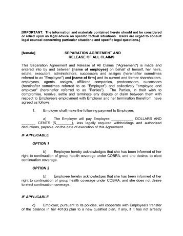 Sample Employment Separation Agreements Employment Separation - employment separation agreement