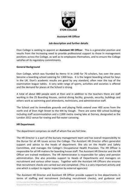 ETON COLLEGE Assistant HR Officer Job description and further