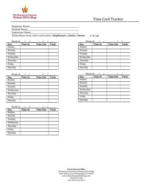 Time Card Tracker - The Restaurant School at Walnut Hill College