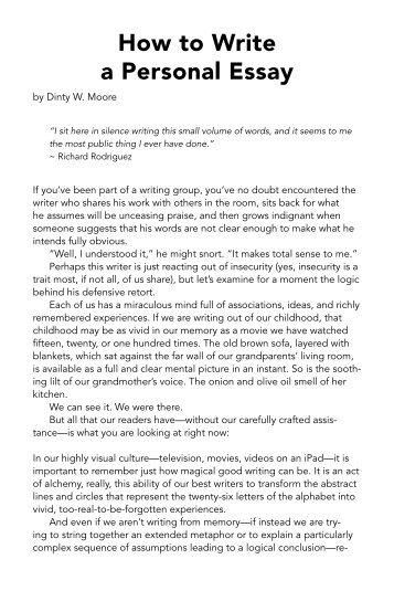 how to write a personal essay - Ozilalmanoof