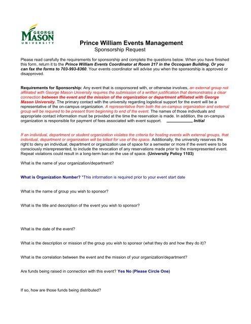 Sponsorship Request Form - Prince William Campus - George