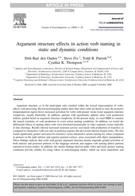 Argument structure effects in action verb naming in static and