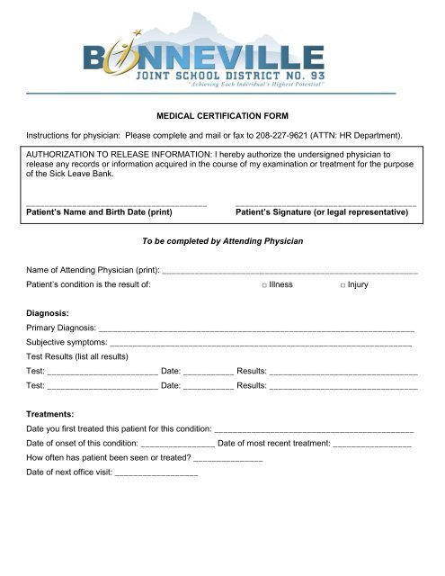 MEDICAL CERTIFICATION FORM Instructions for physician Please